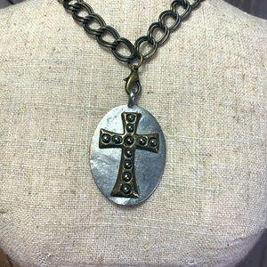 Jewel Kade Celtic Cross Charm Brass Chain Necklace